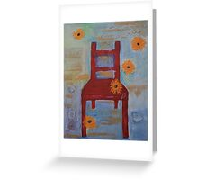 Red Chair with Yellow Chrysanthemums Greeting Card