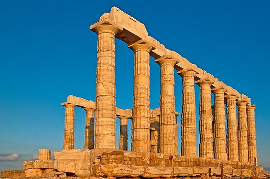 Temple of Poseidon at sunset, Cape Sounio by Konstantinos Arvanitopoulos