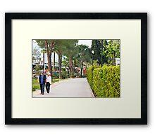 a couple walking alone the side of lake garda Framed Print