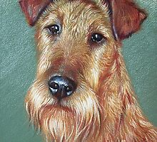 """""""Irish Pride"""" (Irish Terrier dog) by Elena Kolotusha"""
