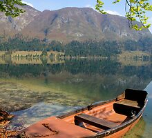 Tranquil alpine lake by Ian Middleton