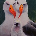 """happy family"" black-browed albatross couple with chick by veriest"