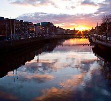 Sunset on the River Liffey - Dublin, Ireland by armiller007