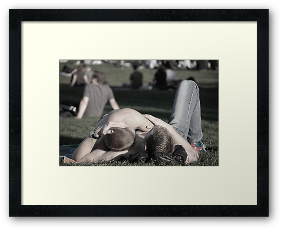 two guys on a blanket by Amanda Huggins