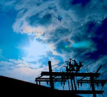 Blue sky power lines by joyfulphotos