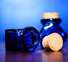 Blue glass bottles 1 by Lissywitch