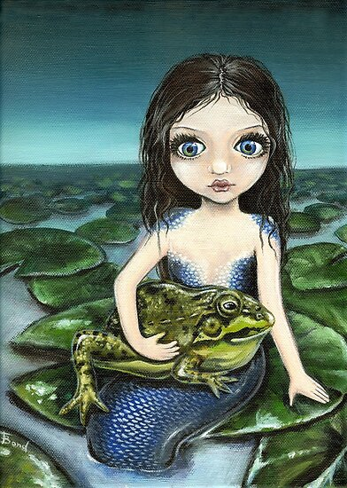 Pond mermaid and Lily the frog by tanyabond