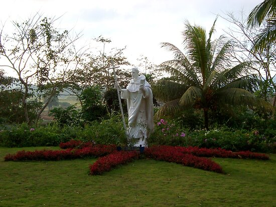 Caleruega church white statue (saint / priest) in Batangas, Philippines by walterericsy
