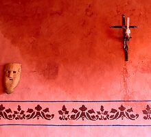 Mayan Mask and Catholic Cross by Zane Paxton
