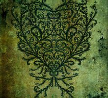 Feathered Peacock Heart - Print by Sybille Sterk