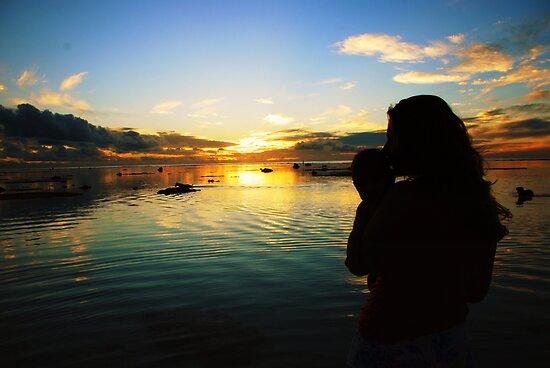 Rarotonga at dusk by Junior Marsters