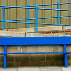 Blue Painted Bench and Railings by Ravensara