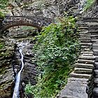 Stone Steps and Bridge Over The Waterfall by Gene Walls
