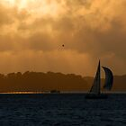 sailing boat at sunset by Andrew Lever