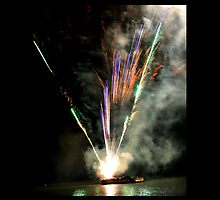 fireworks coming off boat in Cairns  by Raelene  Buchanan Grace