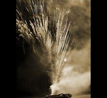 fire on boat by Raelene  Buchanan Grace