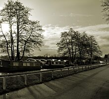 Fradley Junction in Sepia 3 by Jonathan Fletcher