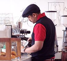 Doing the coffee 'art' by Ell-on-Wheels
