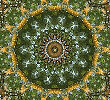 Yellow Tree Flower Kaleidoscope Art 4 by Christopher Johnson