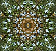 Yellow Tree Flower Kaleidoscope Art 5 by Christopher Johnson