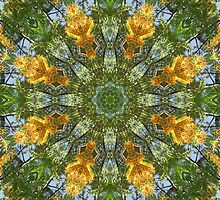 Yellow Tree Flower Kaleidoscope Art 6 by Christopher Johnson