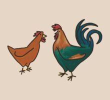 rooster and chicken by Sanne Thijs