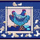 Farmyard chickens and eggs by goanna