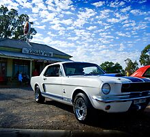 White Mustang, blue sky by Greg Carrick