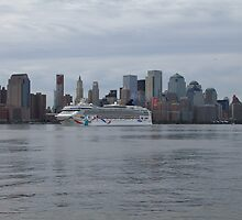The Norwegian Dawn on the Hudson Rv. by pmarella