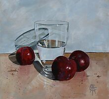 Glass and Three Plums by CatSalter