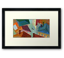 Black cat in the city Framed Print