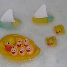 Rubber Ducks Playing In The Bathtub by Linda Miller Gesualdo