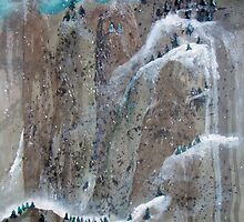 Pine Trees And Snow Mountain No.2 by Ava McNamee
