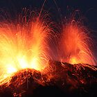 Simultaneous eruption of the Stromboli by Sylvain Crelier