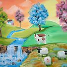 CUTE COWS SHEEP FOLK PAINTING by gordonbruce