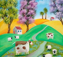 SHEEP COW FOLK PAINTING by gordonbruce