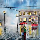RAINY DAY UMBRELLA WET STREET TRAM OIL PAINTING by gordonbruce