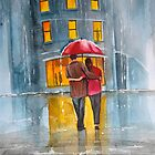 RAINY DAY UMBRELLA WATERCOLOUR PAINTING by gordonbruce