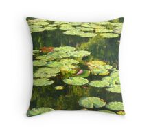 Waterlilies on Paupackan Lake Throw Pillow