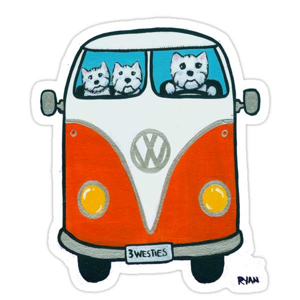 Westies in a VW by Ryan Conners