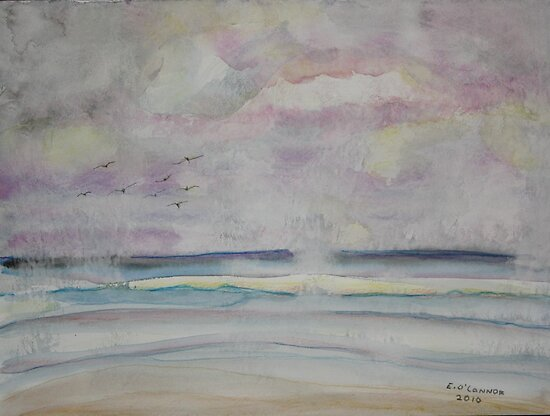 Storm Clouds and  Ocean  Mists Daytona Beach Florida by eoconnor