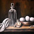 Antique Bottle with Eggs by Pamela Plante