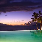 Glorious sunset in Hawaii with the pool in the foreground by Andrey Popov