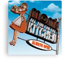 Mom's Kitchen Retro Neon Sign Canvas Print