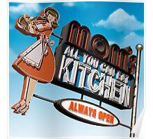 Mom's Kitchen Retro Neon Sign Poster