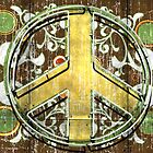 Retro Neon Peace Sign Symbol by Anthony Ross