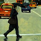 Rainy Day Business - Figurative City Oil Painting by LindaAppleArt