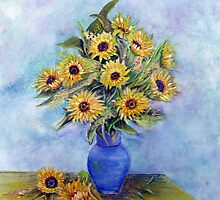 Sunflowers With Blue Vase by Loretta Luglio