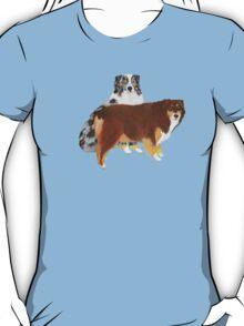 Aussie Pair ~ Australian Shepherd ~  sticker and T-shirt T-Shirt