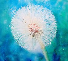 Dandelion on jade and blue by Ruth S Harris